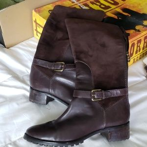 Etienne Aigner Boots Brown Suede Leather Boots
